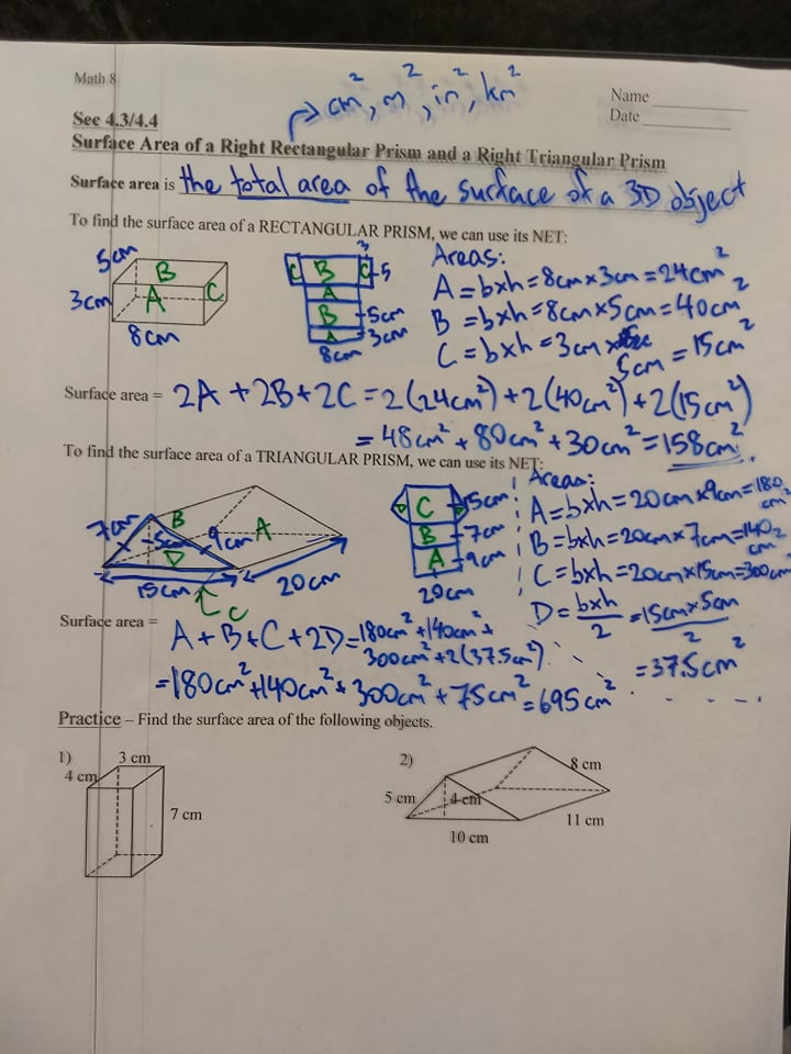 Unit 6: Surface Area and Volume